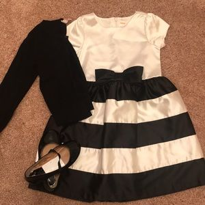 Girls black and white dress set- 4T